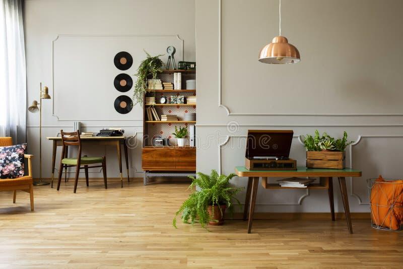 Dokumentacyjny gracz i roślina na drewnianym stole w popielatym mieszkania wnętrzu z lampą i winylem Istna fotografia zdjęcia stock