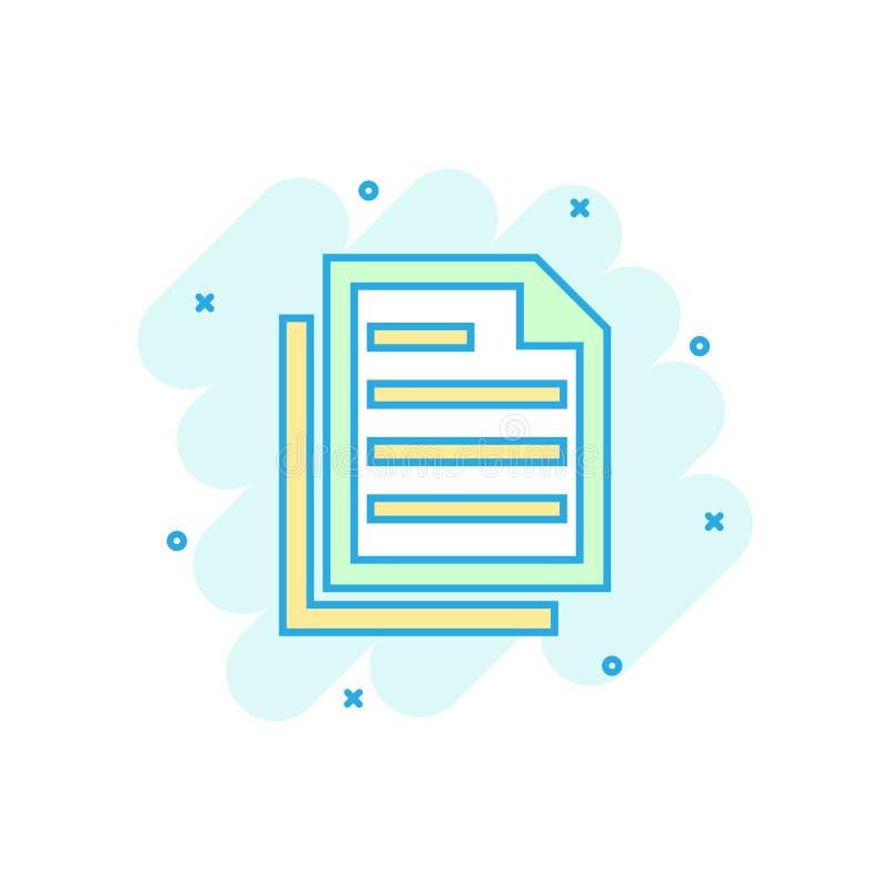 Dokumentanmärkningssymbol i komisk stil Pappers- pictogram för illustration för arkvektortecknad film Färgstänk för Notepaddokume stock illustrationer