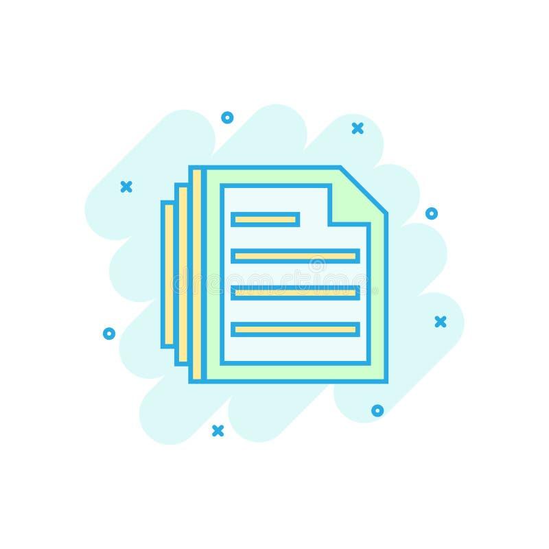 Dokumentanmärkningssymbol i komisk stil Pappers- pictogram för illustration för arkvektortecknad film Färgstänk för Notepaddokume royaltyfri illustrationer