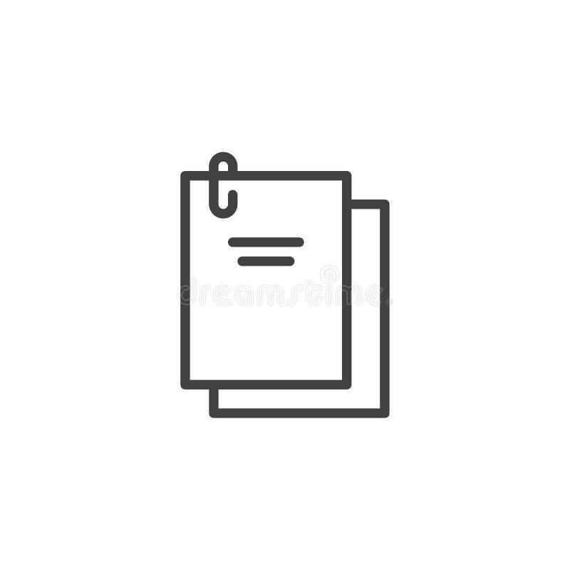 Dokumente geheftet mit einer Büroklammerentwurfsikone lizenzfreie abbildung