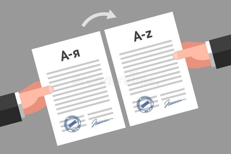 Dokumentenübersetzungskonzept stock abbildung