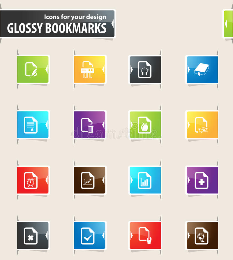 Dokumenten-Bookmark-Ikonen vektor abbildung