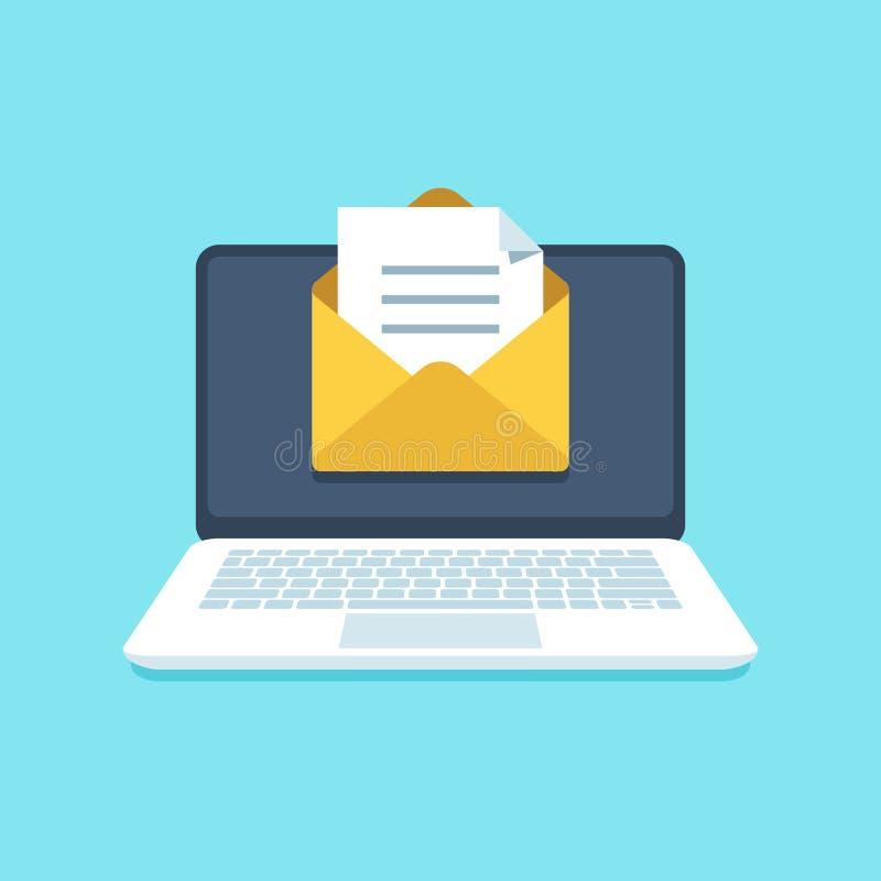Dokumenten-E-Mail auf Notizbuch Verschicken Sie Brief mit Dokumenten für das Unterzeichnen auf Bildschirm Inbox-Mitteilungsvektor vektor abbildung