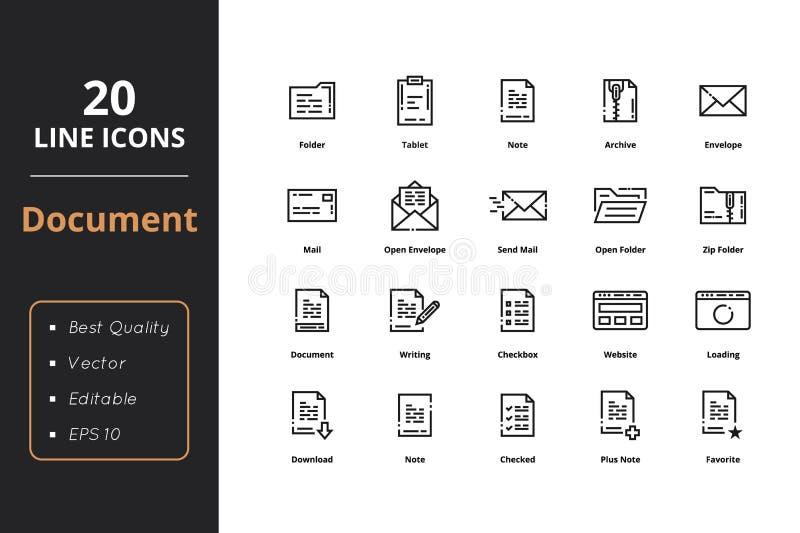 20 Dokumenten-Linie Ikonen der hohen Qualität stock abbildung
