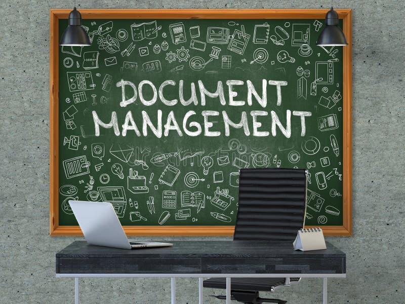 Dokumenten-Management-Konzept Gekritzel-Ikonen auf Tafel 3d stock abbildung