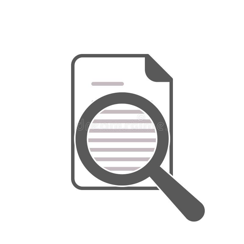 Dokumenten-und Wort-Lupen-Ikone vektor abbildung