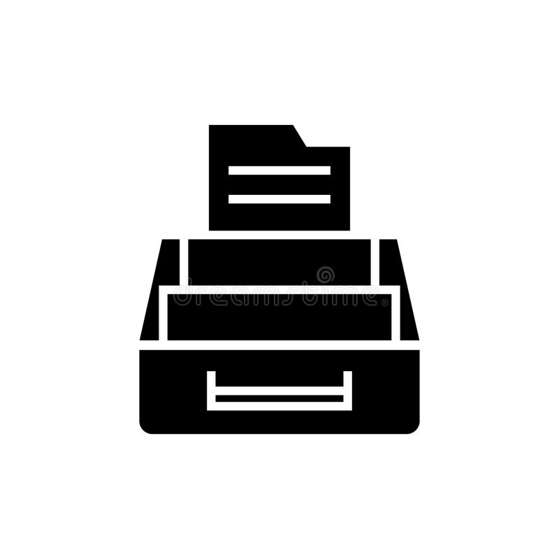 Dokumentenarchivikone, Vektorillustration, schwarzes Zeichen auf lokalisiertem Hintergrund stock abbildung