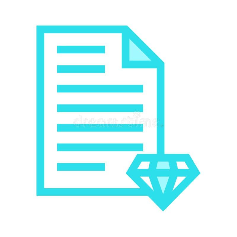 Dokumentendiamant-Farblinieikone stock abbildung