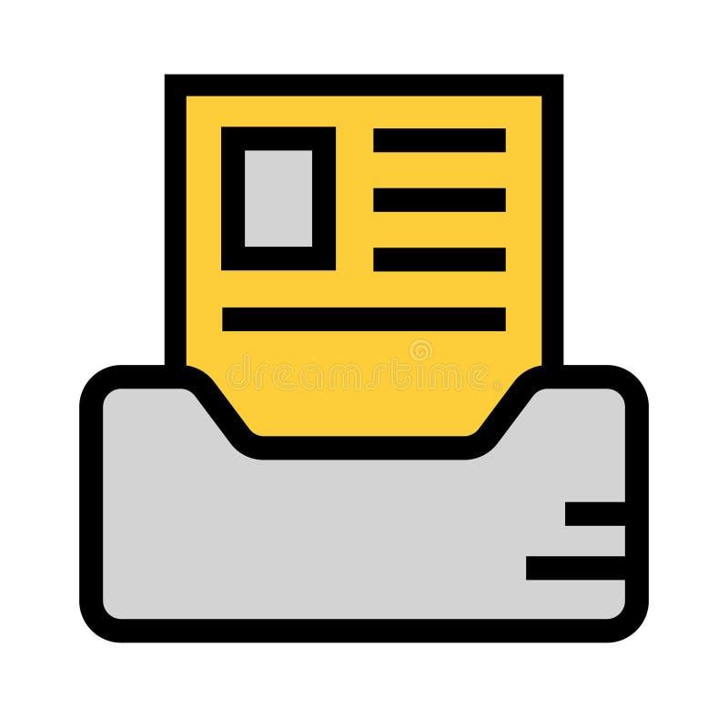 Dokumentenfach-Farblinieikone vektor abbildung