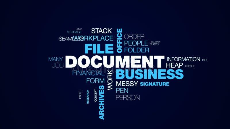 Dokumentengeschäftsdateibürofinanzbürokratieorganisations-Schreibarbeitsbuchstabe archiviert Vertrag lebhafte Wortwolke stock abbildung