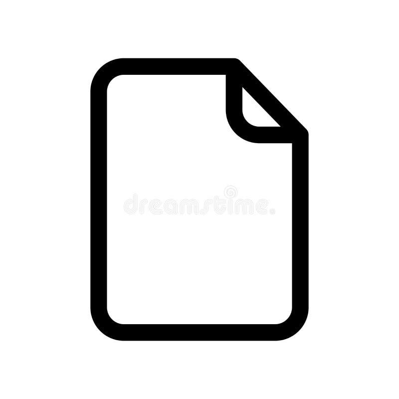 Dokumentenikone Blatt Papier leeres Papier Modernes Gestaltungselement des Entwurfs Einfaches schwarzes flaches Vektorzeichen mit vektor abbildung