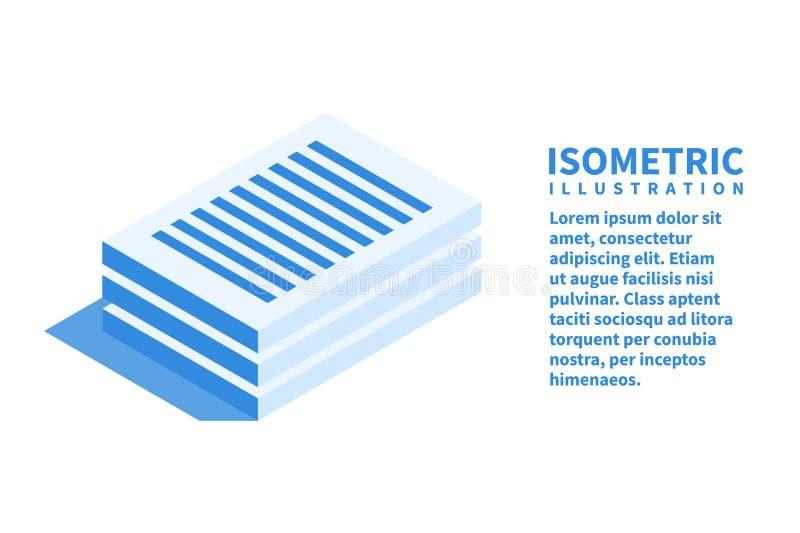 Dokumentenikone Isometrische Schablone für Webdesign in der flachen Art 3D Auch im corel abgehobenen Betrag stock abbildung