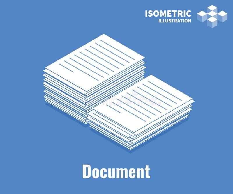 Dokumentenikone Stapel von Dokumenten, Stapel Gesch?ftspapier Illustration des Vektors 3D lokalisiert auf blauem Hintergrund vektor abbildung