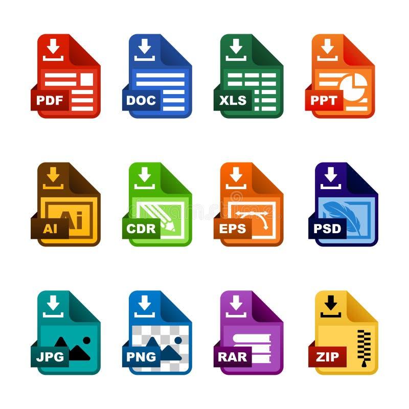 Dokumentenikonen-Dateiextensions-Downloadvektorsatz stock abbildung