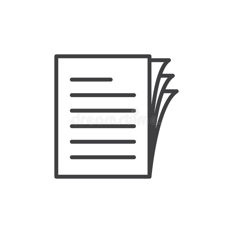 Dokumentenpapierstapellinie Ikone, Entwurfsvektorzeichen, lineares Artpiktogramm lokalisiert auf Weiß stock abbildung