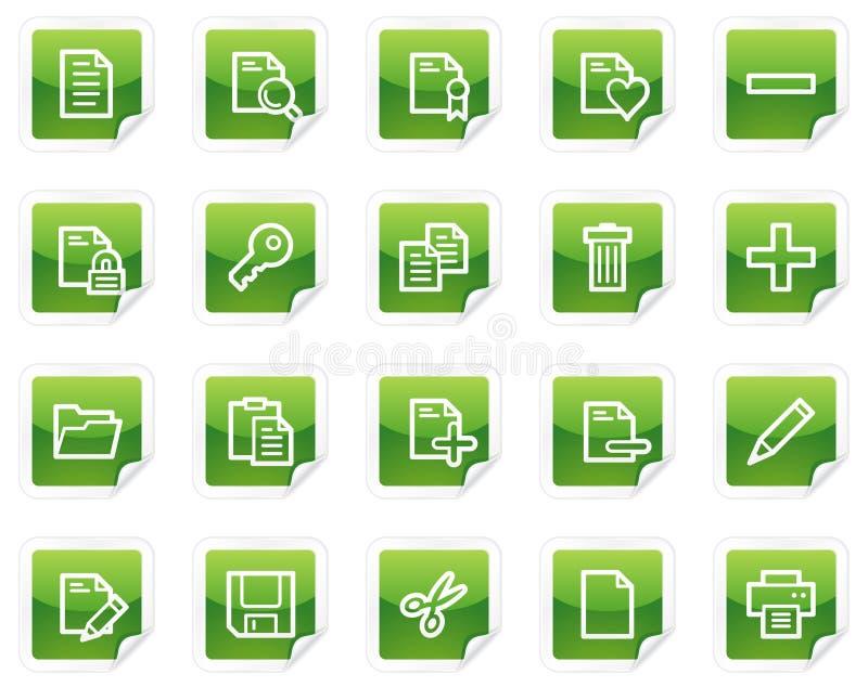 Dokumentenweb-Ikonen, grüne Aufkleberserie lizenzfreie abbildung