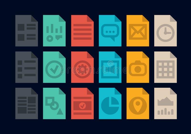 Dokumentfiltypsymboler stock illustrationer