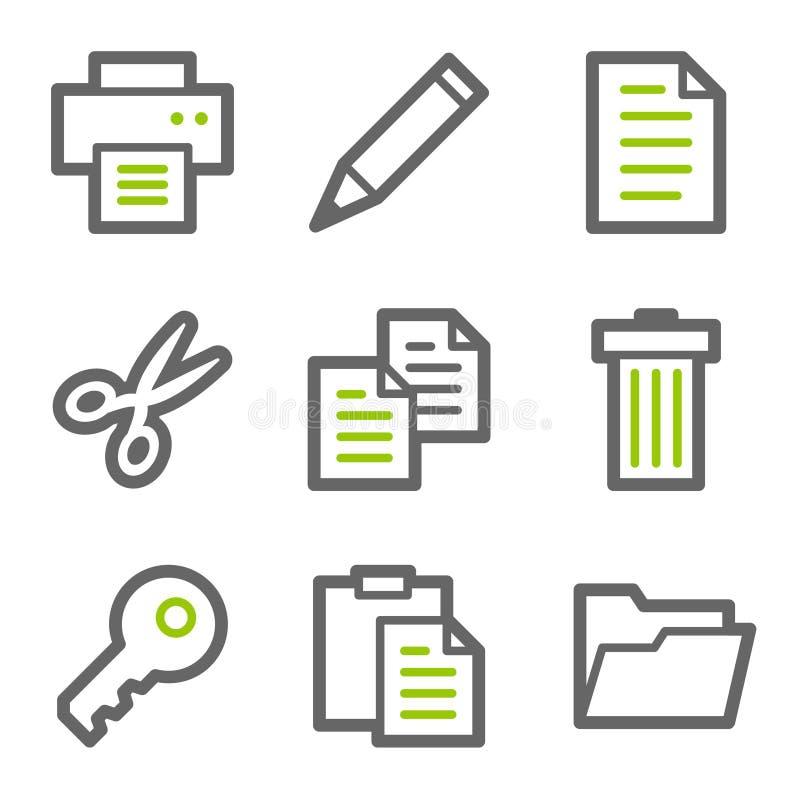 Dokumentieren Sie die Web-Ikonen-, Grüne und Graueformserien lizenzfreie abbildung