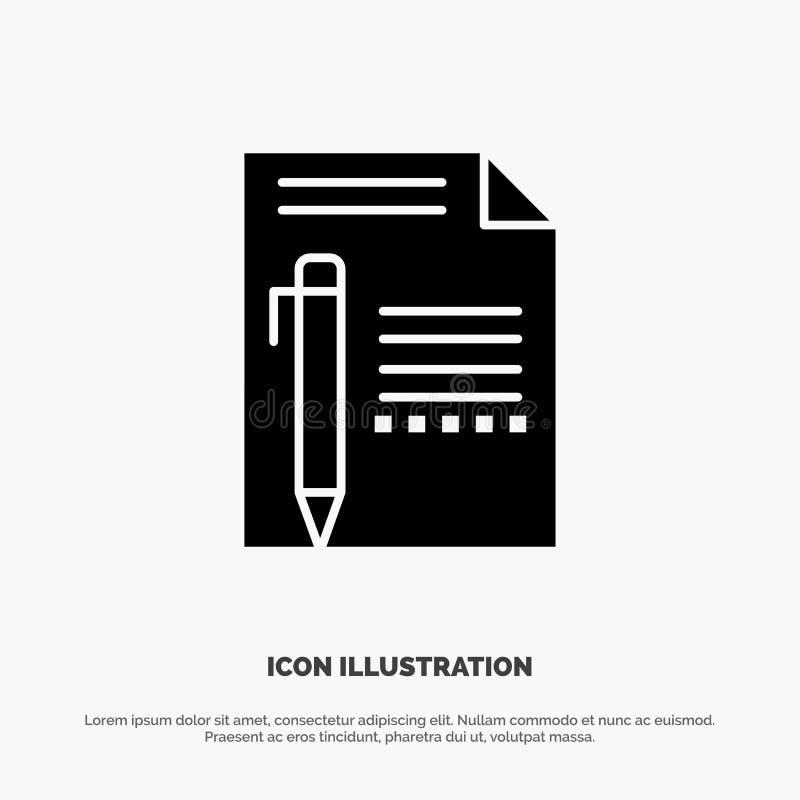 Dokumentieren Sie, redigieren Sie, paginieren Sie, tapezieren Sie, zeichnen Sie an, schreiben Sie festen Glyph-Ikonenvektor vektor abbildung