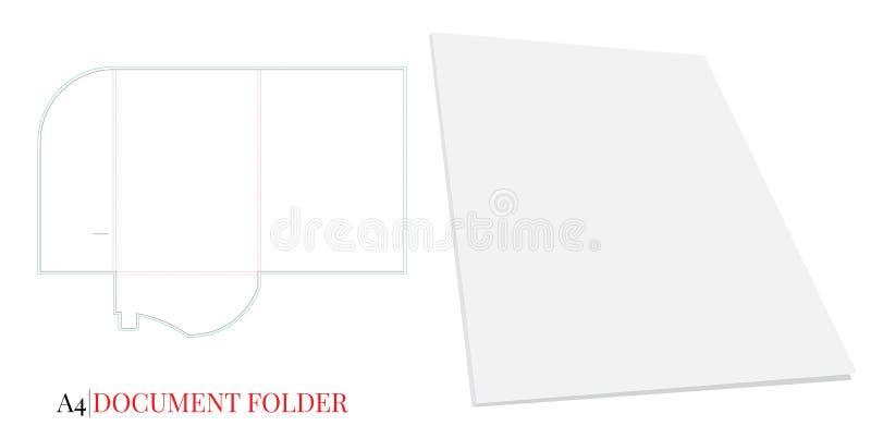 Dokumentmappmall, A4 Vektorn med stansat/laser klippte lager Vitt klart, mellanrum, isolerad dokumentmapp på vit baksida stock illustrationer