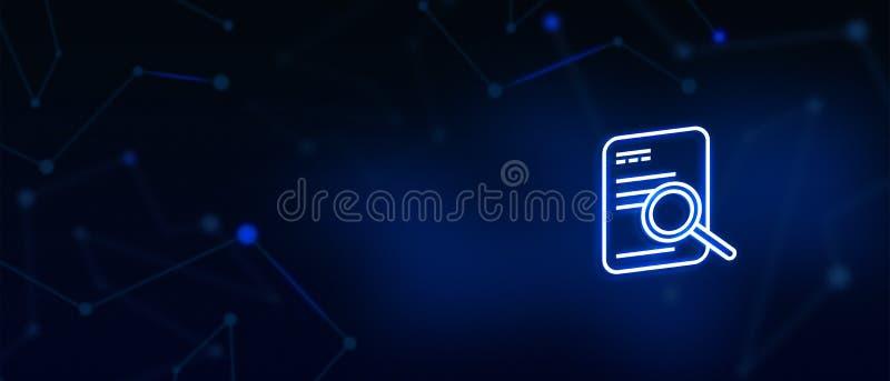 Dokumentsökande, Lens, förstorande dokument, information, applikation, granskningsbegrepp, företags bakgrund, websiteräkning royaltyfri illustrationer
