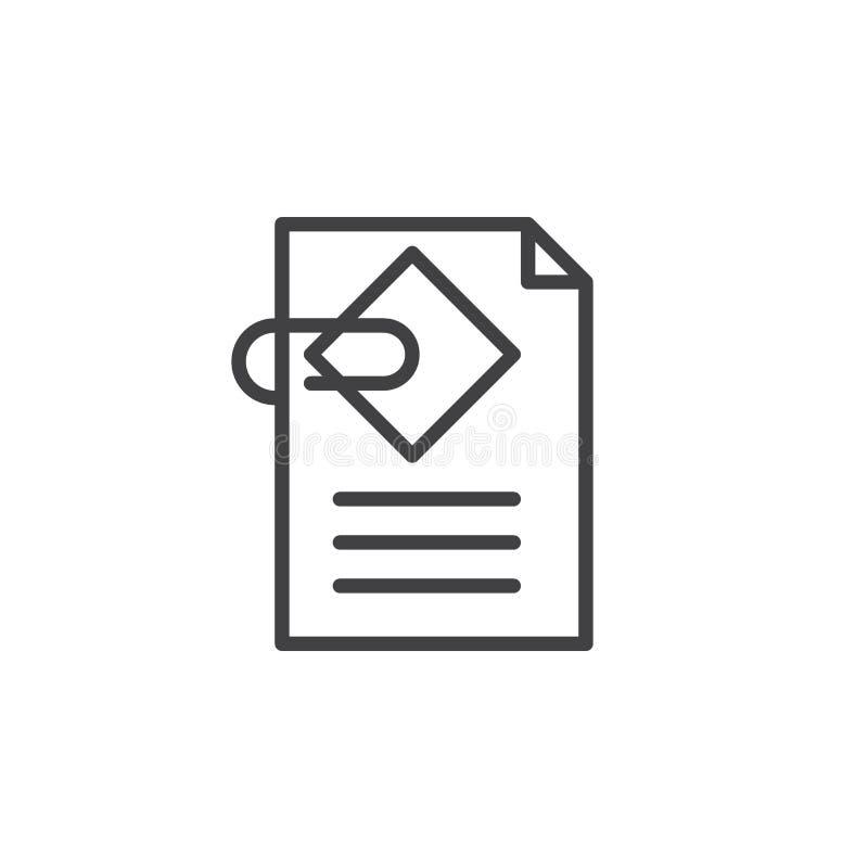Dokumentu doczepiania linii ikona, konturu wektoru znak, liniowy stylowy piktogram odizolowywający na bielu ilustracji
