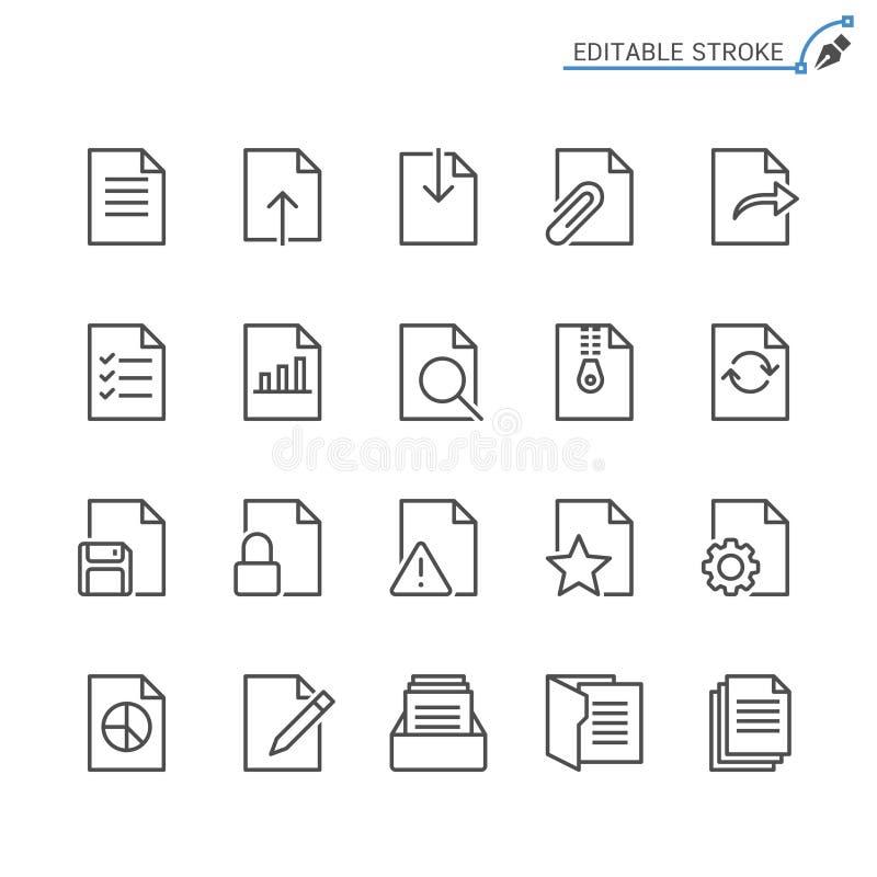 Dokumentu konturu ikony set ilustracji