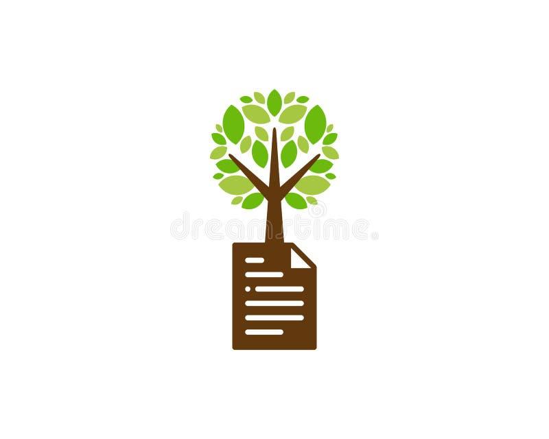 Dokumentu loga ikony Drzewny projekt ilustracja wektor