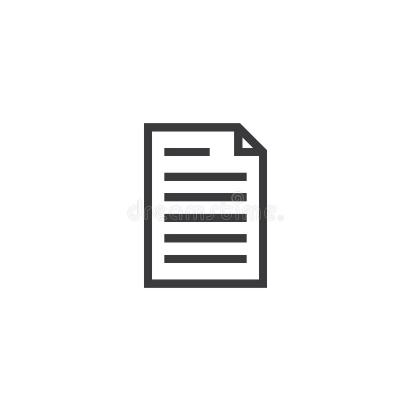 Dokumentu papieru konturu ikona odosobniona nutowego papieru ikona w cienkim kreskowym stylu dla grafiki i sieci projekta Prosty  ilustracja wektor