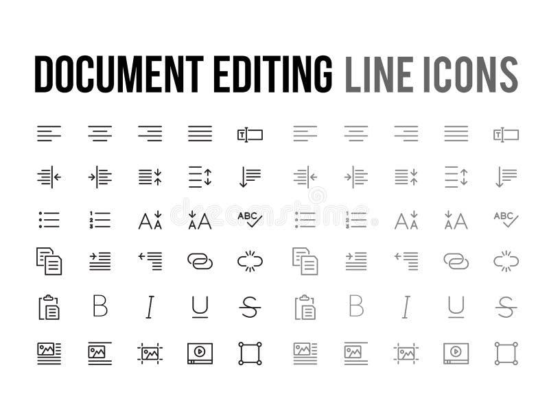 Dokumentu teksta edytorstwa wektoru linii ikona dla app, mobilna strona internetowa r ilustracji