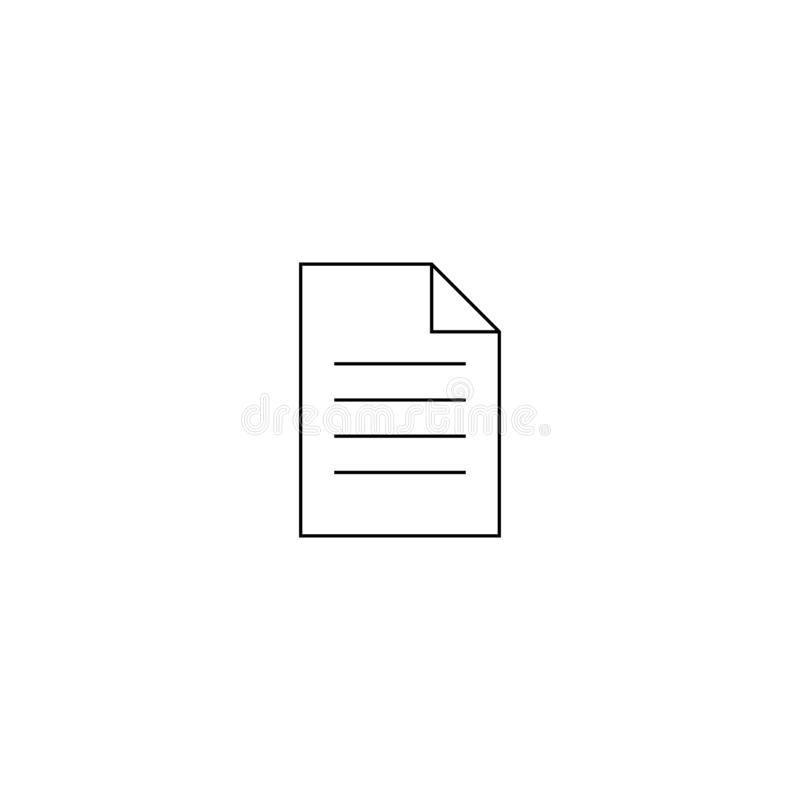 Dokumentvektorsymbol Illustration som isoleras f?r diagram och reng?ringsdukdesign royaltyfri illustrationer