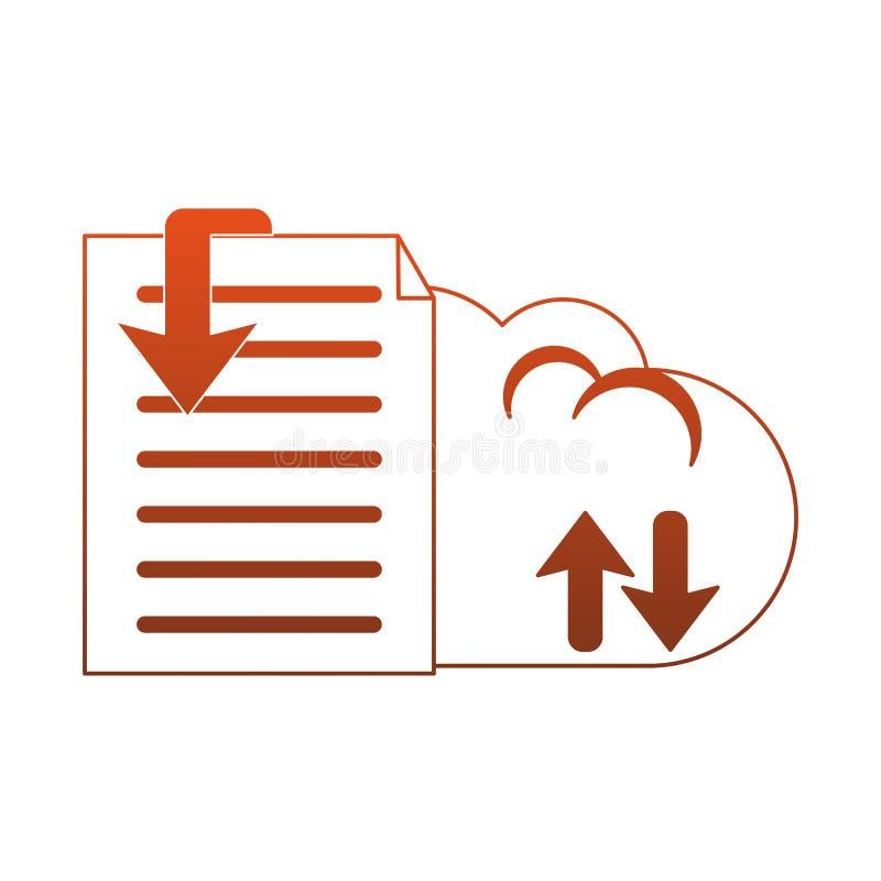 Dokumenty na chmurze oblicza czerwone linie royalty ilustracja