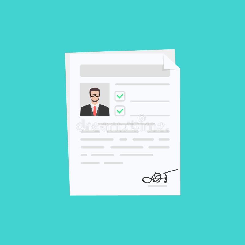 Dokumenty z osobistymi dane, pojęcie wywiad praca, kwalifikacja testa cenienie, cv również zwrócić corel ilustracji wektora royalty ilustracja