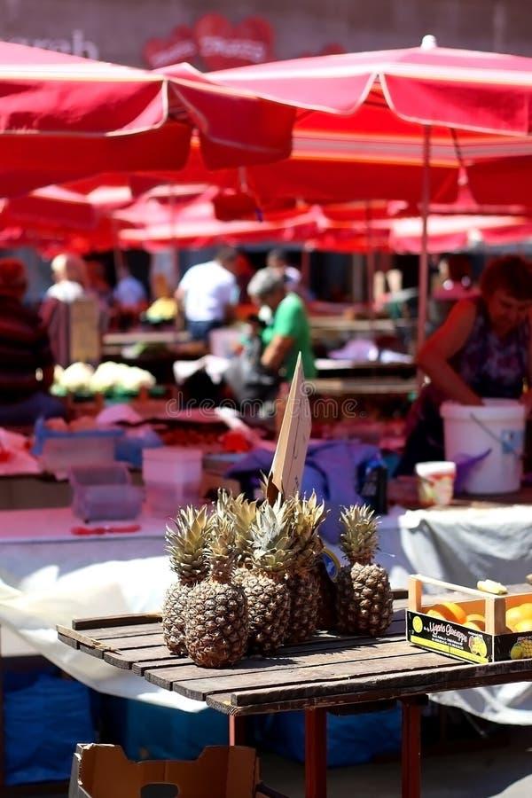 Dolac市场,萨格勒布,克罗地亚 免版税库存照片