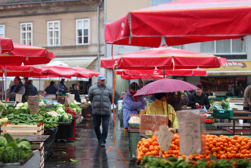 Dolac市场,萨格勒布 免版税库存照片