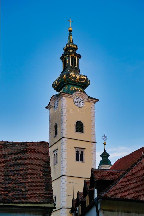 Dolac的尖沙嘴钟楼,萨格勒布,克罗地亚圣玛丽 库存图片