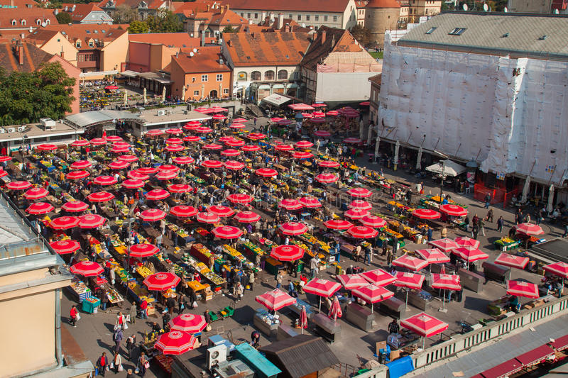 Dolac market, ZAGREB, CROATIA. ZAGREB, CROATIA - OCT 2: Aerial view of Dolac market covered with parasols and stands with fresh fruit and vegetables on October 2 royalty free stock image