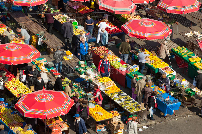 Dolac market, ZAGREB, CROATIA. ZAGREB, CROATIA - OCT 2: Aerial view of Dolac market covered with parasols and stands with fresh fruit and vegetables on October 2 royalty free stock photos