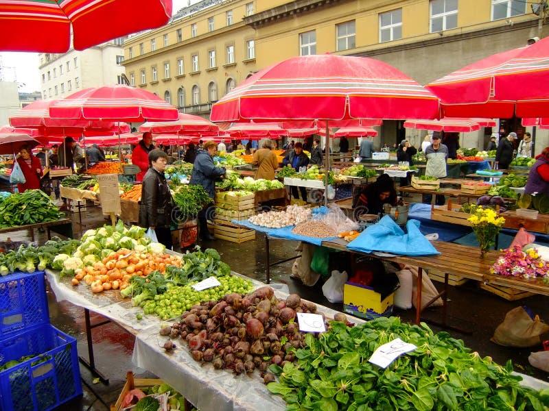 Dolac marknad, Zagreb, Kroatien arkivfoto