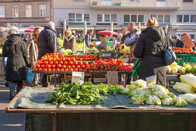 Dolac-Markt in zentralem Zagreb stockbild