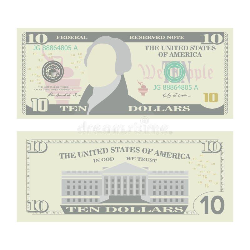 10 dolarów banknotu wektoru Kreskówki USA waluta Dwa strony Dziesięć amerykanina pieniądze Bill Odosobniona ilustracja Gotówkowy  royalty ilustracja