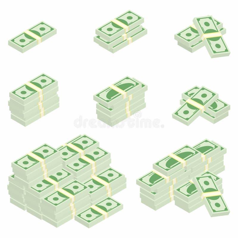 dolarów Pakunki banknoty w różnorodnych kątach Różne sterty i stosy gotówka ilustracji