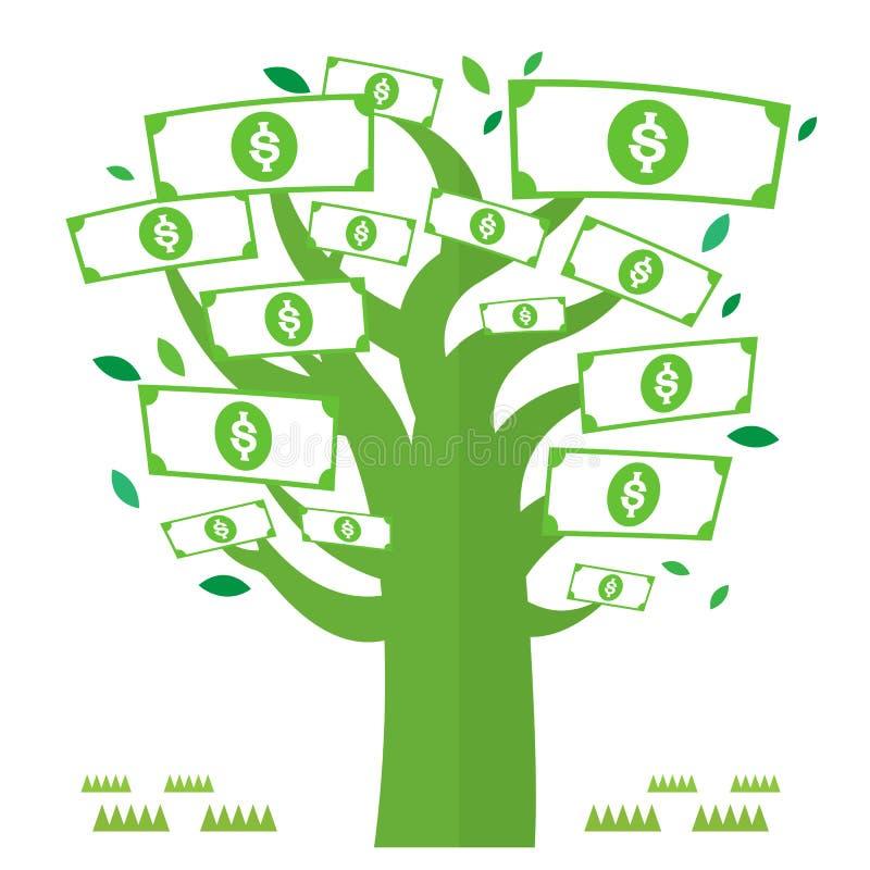 Dolar χρημάτων διανυσματικό νόμισμα εικονιδίων δέντρων πράσινο διανυσματική απεικόνιση