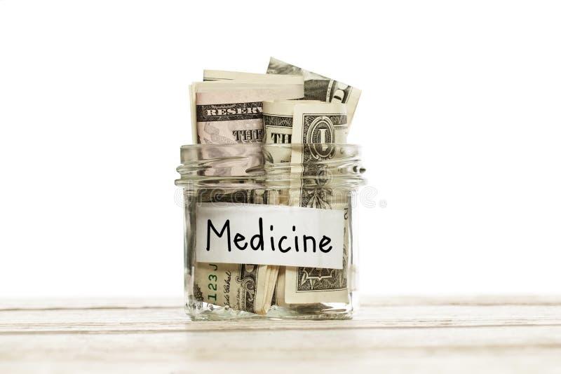 dolar amerykański spienięża pieniądze dla medycyny lub ubezpieczenie na drewnianym stole na białym tle obraz stock