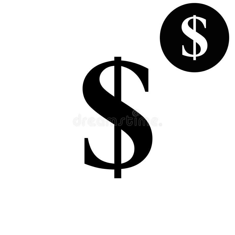 Dolar amerykański - biała wektorowa ikona ilustracja wektor