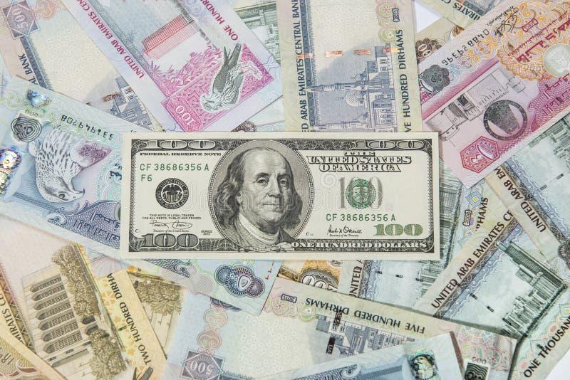 dolar amerykański i UAE Dirhams zdjęcie royalty free
