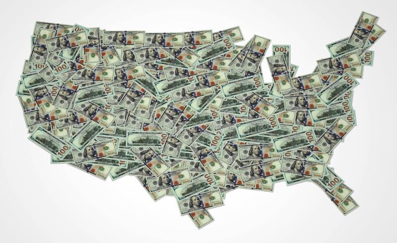 dolar amerykański mapa 3D ilustracji