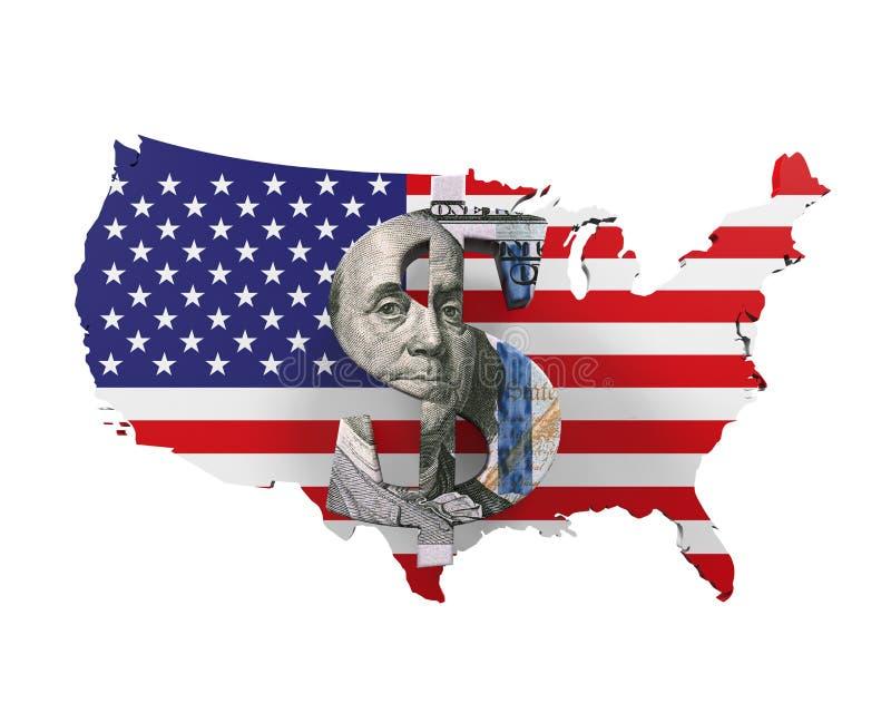 dolar amerykański mapa i symbol ilustracja wektor