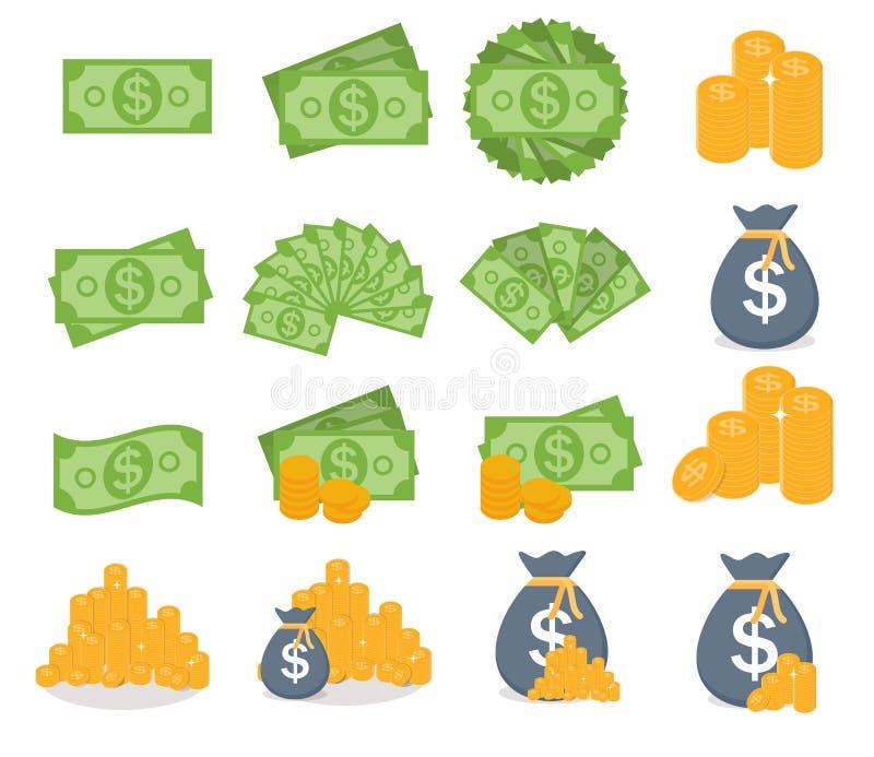 dolar amerykański sterty papieru banknotów i Złocistych monet ikony znak ilustracji