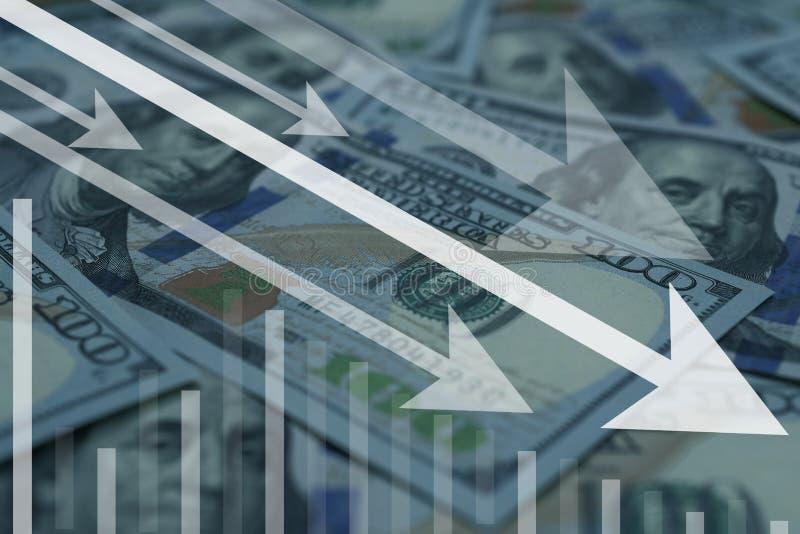 dolar ameryka?ski waluty kropla w z?ej sytuacji lub zmniejszanie zdjęcia stock